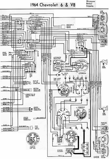 1964    Chevrolet    6   V8 Electrical    Wiring       Diagram       Schematic