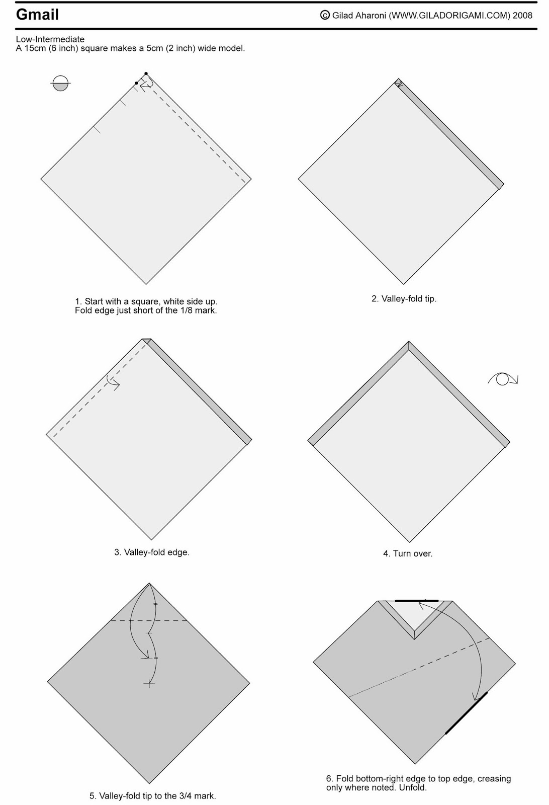 Fun origami gmail logo paper origami guide gmail origami folding diagram follow the instruction inside the photos jeuxipadfo Image collections
