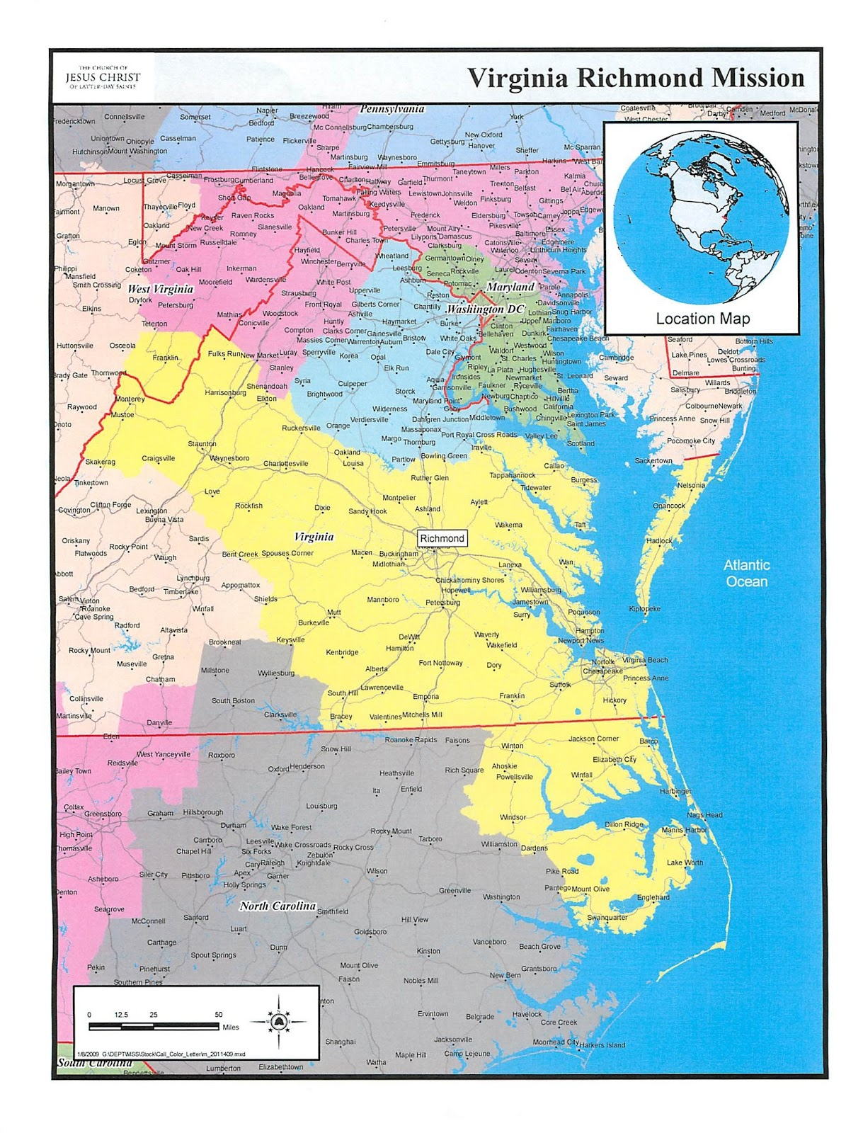 Amber Was in Virginia: Map of Richmond, Virginia Mission - as of ...