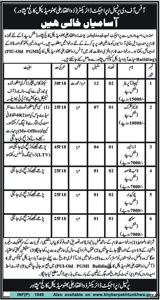 Posts Available in Zulfiqar Ali Bhutto Medical College, Peshawar