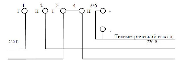 3) Схема подключения электросчетчика Меркурий-202 к электросети.