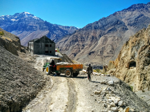 Traveling by tractor in Spiti Valley