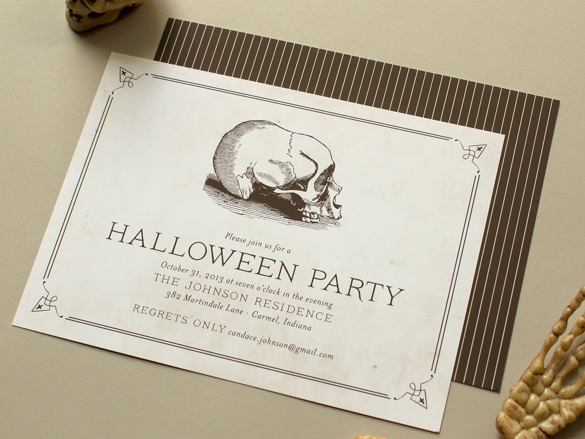spooky skull skeleton halloween party invitation