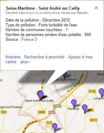 Carte de la pollution de l'eau potable en Seine Maritime