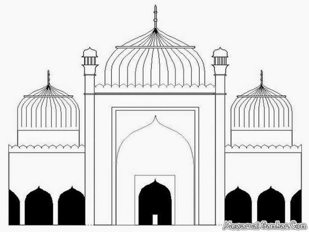 Gambar Animasi Kartun Mesjid Untuk Mewarnai