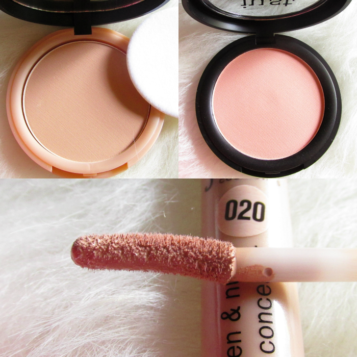 Review: even&nude compact powder 060 toffee - 9g - 3.99 Euro  even&nude invisible touch concealer 020 medium - 5ml - 3.49 Euro  cheek&glow blusher 010 melon - 5g - 3.49 Euro