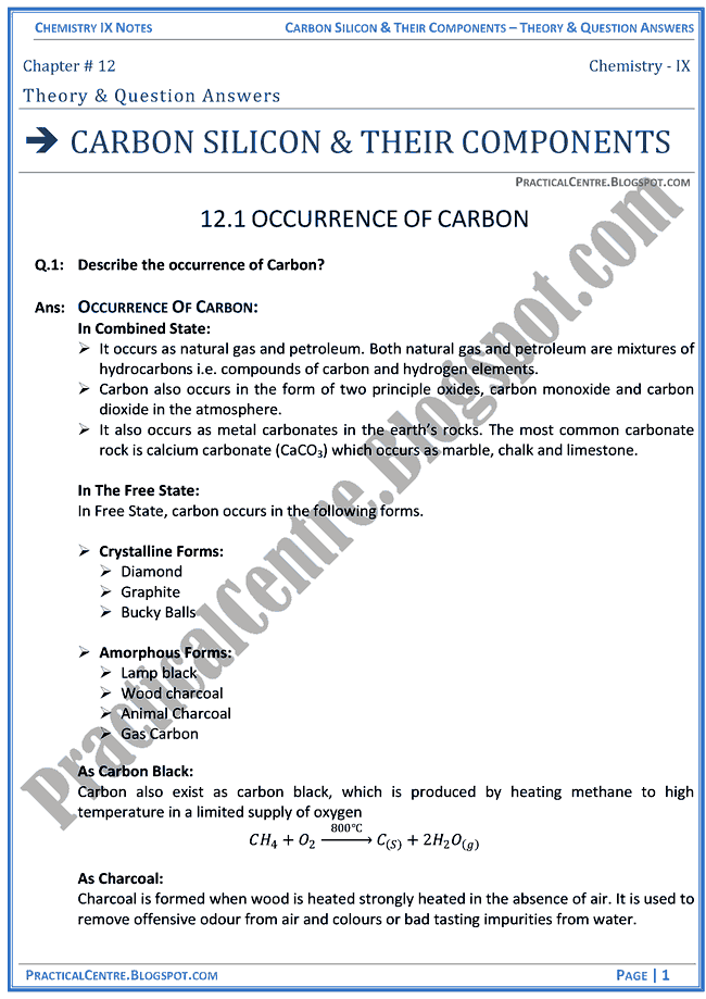 carbon-silicon-and-their-components-theory-and-question-answers-chemistry-ix