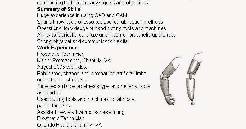 resume samples  prosthetic technician resume sample