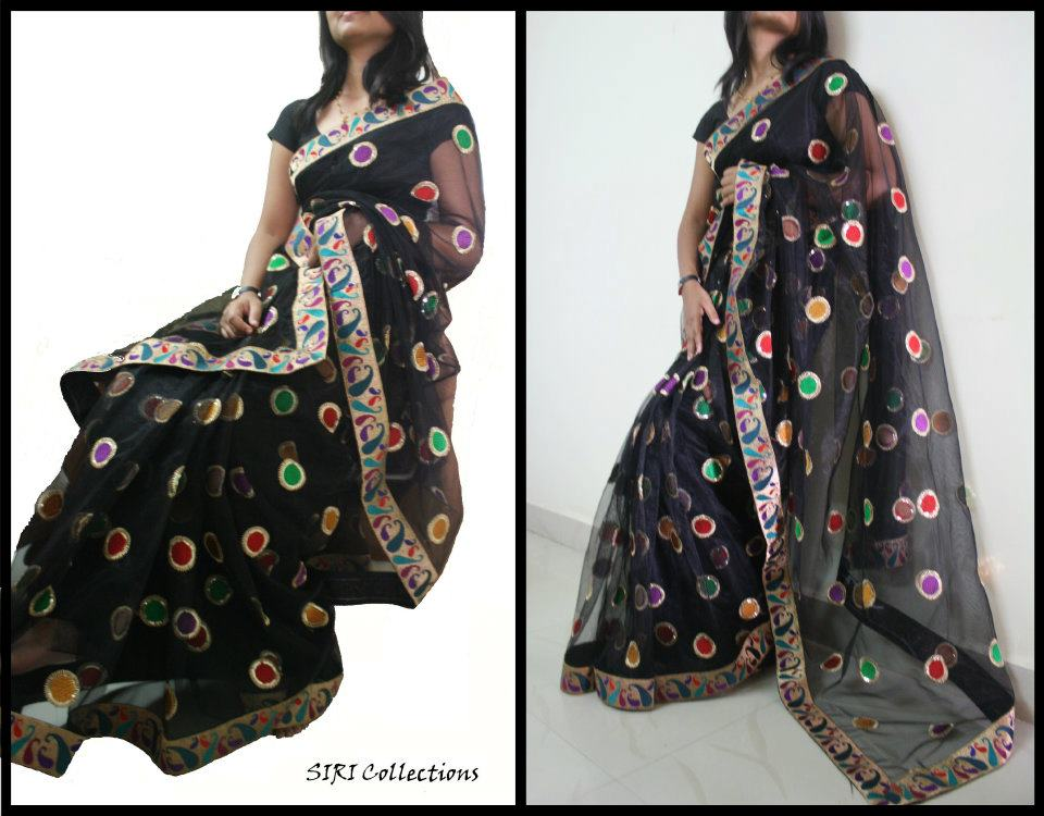 black border saree with multicolour