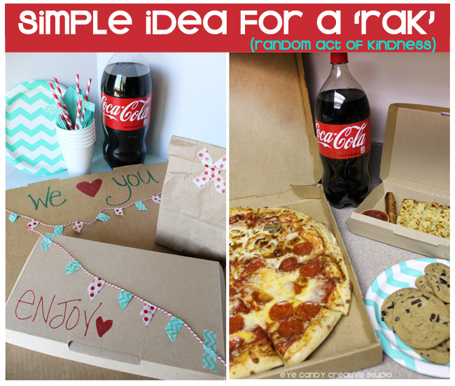 pizza, cookies, breadsticks, RAK, Coca Cola, simple idea for RAOK