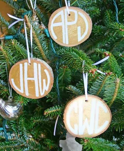 Monogrammed Wood Slice Ornaments