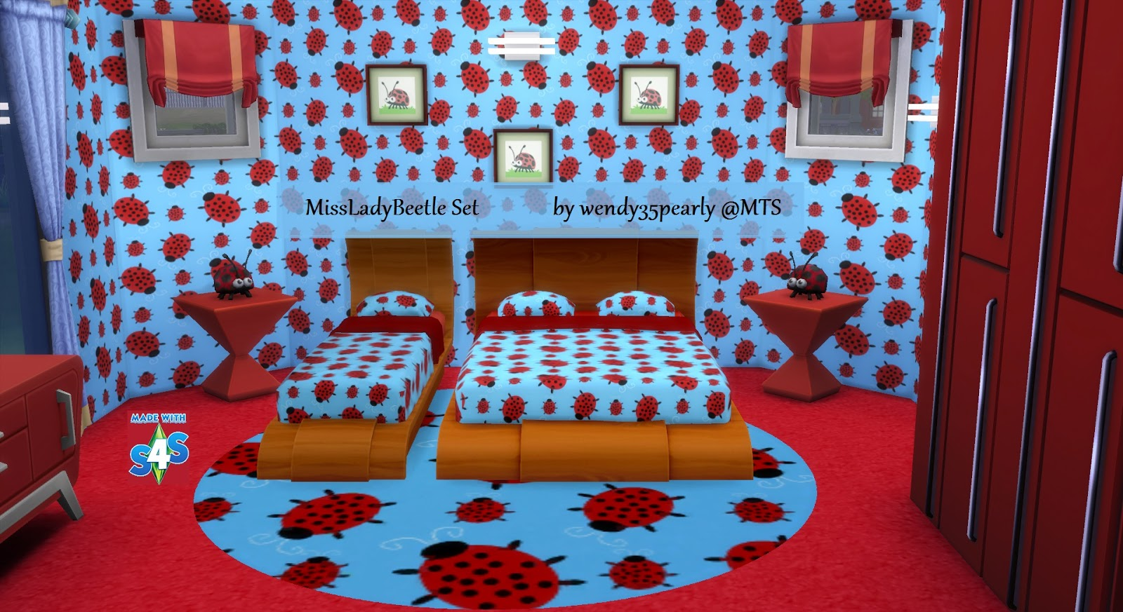 My sims 4 blog cute kid teen bedroom set by wendy35pearly for Cute bedroom furniture sets