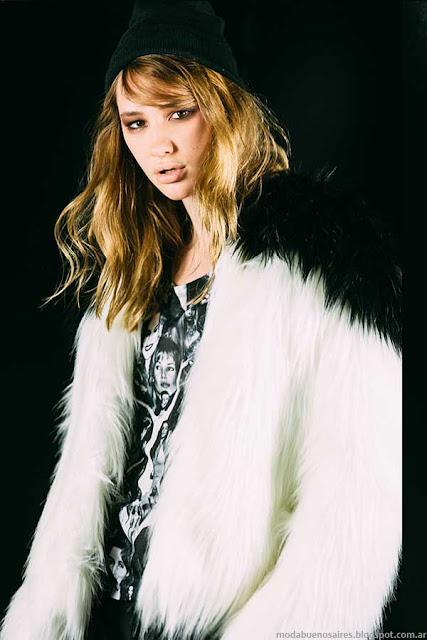 Moda invierno 2015 ropa de mujer Ona Saez tapados de piel.