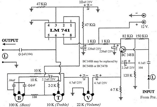Low Cost Bass-Treble Controller Using Op-Amp 741