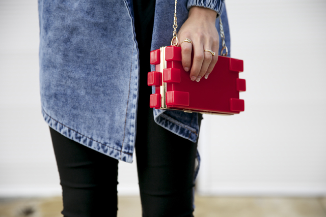 Niclaire red lego box clutch.