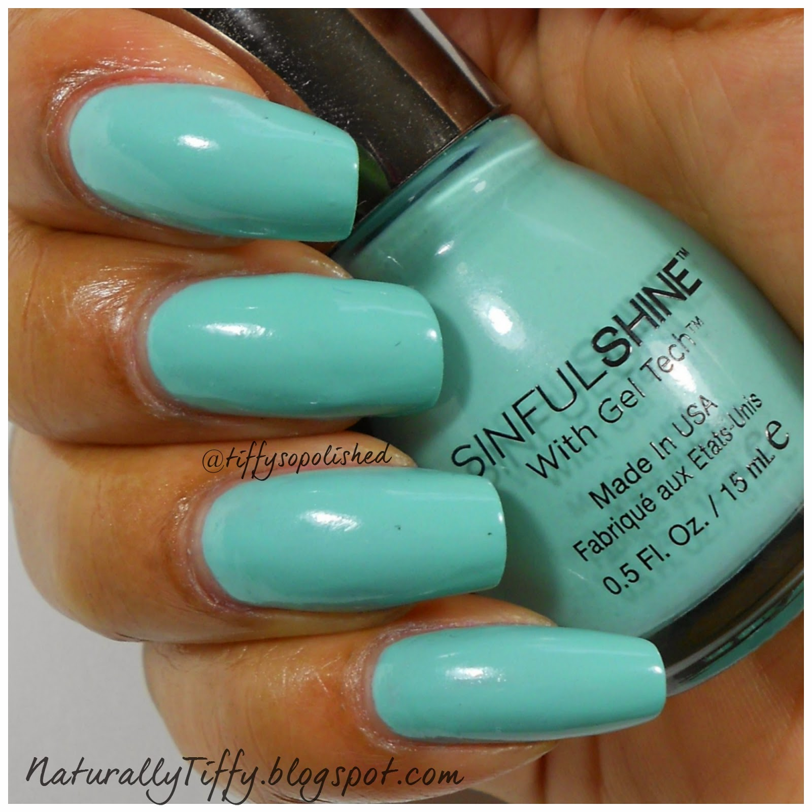 Tiffany Blue Gel Nail Polish: Sinful Shine Rendezvous Swatch
