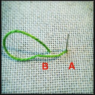 Broderi sting tutorial. Bullion knot knude. Trin 2.