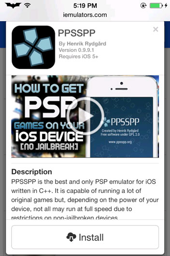 Giả lập PSP Game trên iPhone không Jailbreak 2
