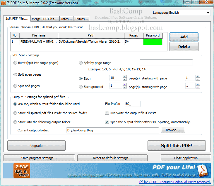 Jendela Split PDF Files... pada software 7-PDF Split & Merge Portable