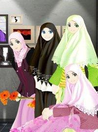 Gambar Islami: Kartun Persahabatan Muslimah