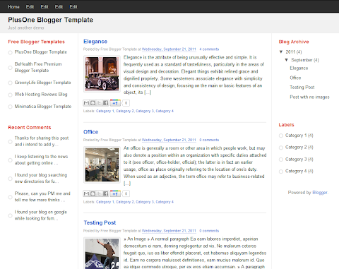 PlusOne Blogger Theme