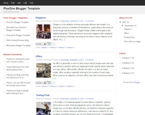 PlusOne Blogger Theme