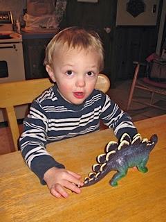 grandson wearing blue striped shirt