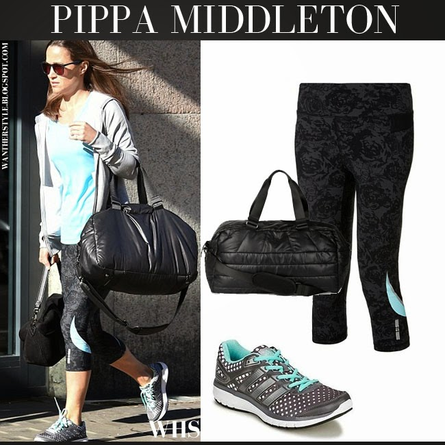 Pippa Middleton in black floral print Sweaty Betty capris with grey Adidas Duramo sneakers gym workout fashion what she wore april 2015