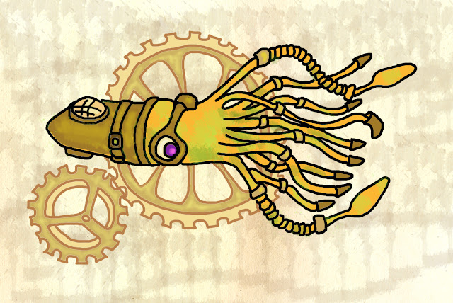 Steampunk Squid Illustration
