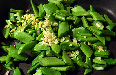 Green Beans Stir Frying with Garlic and Ginger