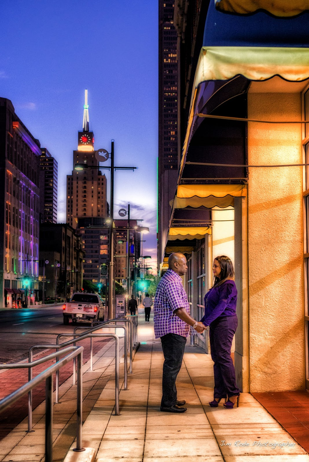 romantic walk on Dallas street at sunset