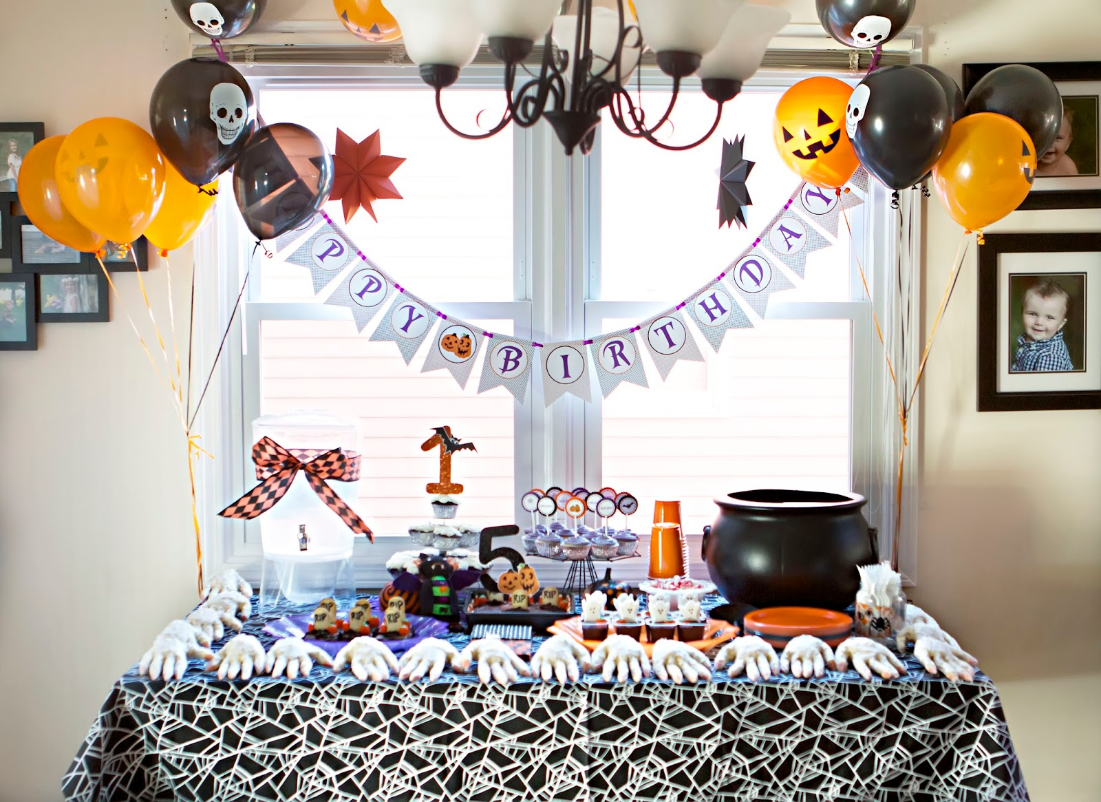 this is the party table we served pizza for lunch but had a big dessert table i made popcorn witch hands for party favors that each of the kids could go - Halloween Themed Birthday Party