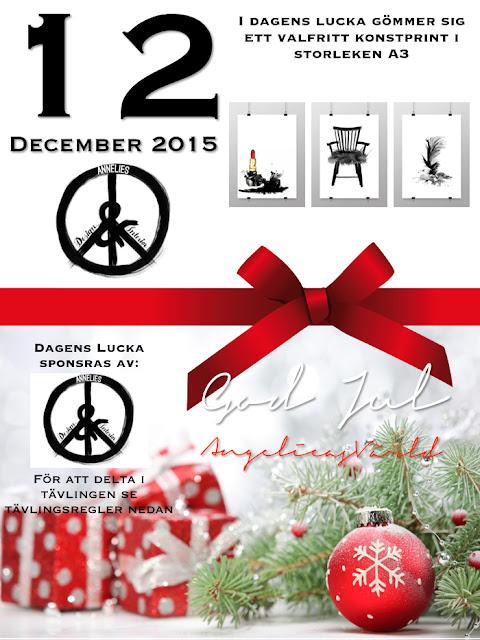 adventskalender, advent, tävling, tävlingar, poster, posters, angelicas värld, svart och vitt, tavlor, tavla, tavlan, fjäder, fjädrar, annelies design & Interior, sponsra, sponsor, företag