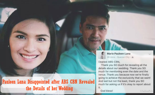 Pauleen Luna Disappointed after ABS CBN Revealed the Details of her Wedding