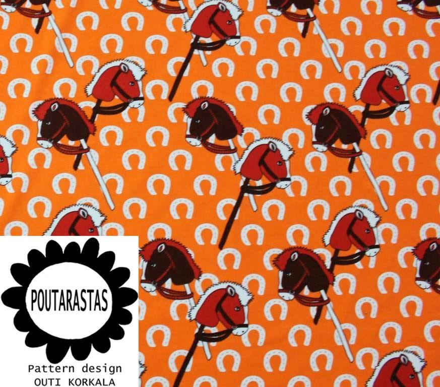 Suunnittelemani keppihepat-trikoo, oranssi