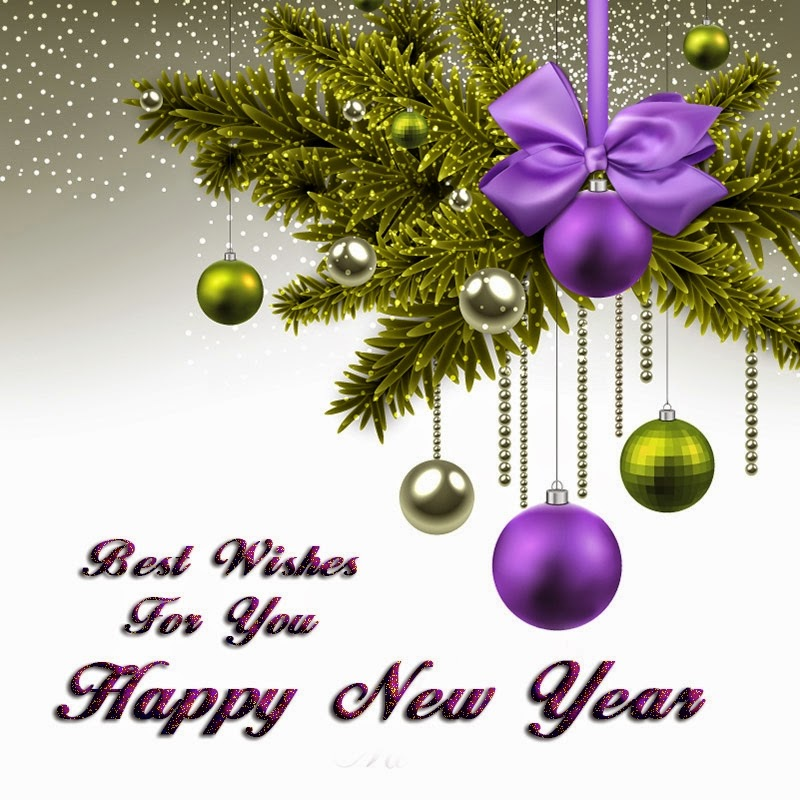 Ball Ribbons Happy New Year Wishes 2015 Card Images