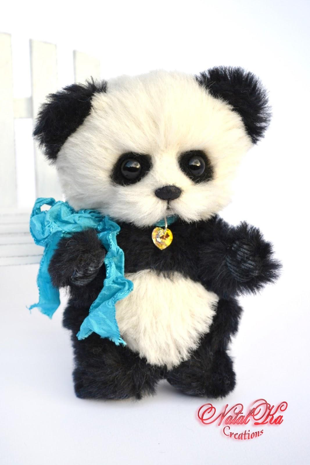 Artist teddy bear, artist bear, teddy bear, ooak, artist bear jointed, handmade by NatalKa Creations. Künstlerbär, Künstlerteddy, Teddybär, Teddy, Unikat, Panda, handgemacht von NatalKa Creations