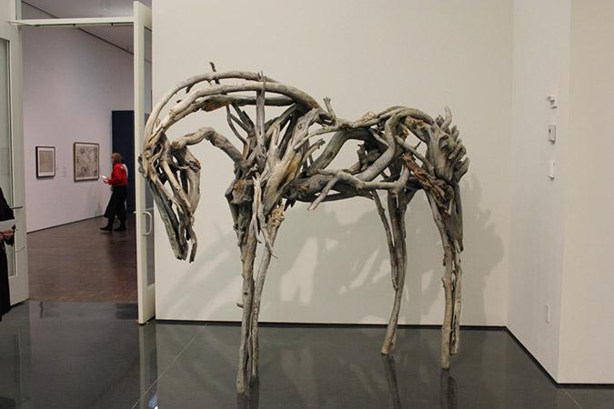 An Exhibit piece of a horse frame.