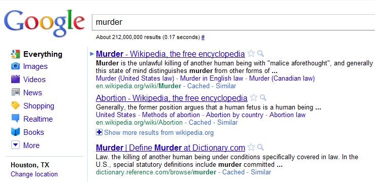 Murder Abortion Google Bomb