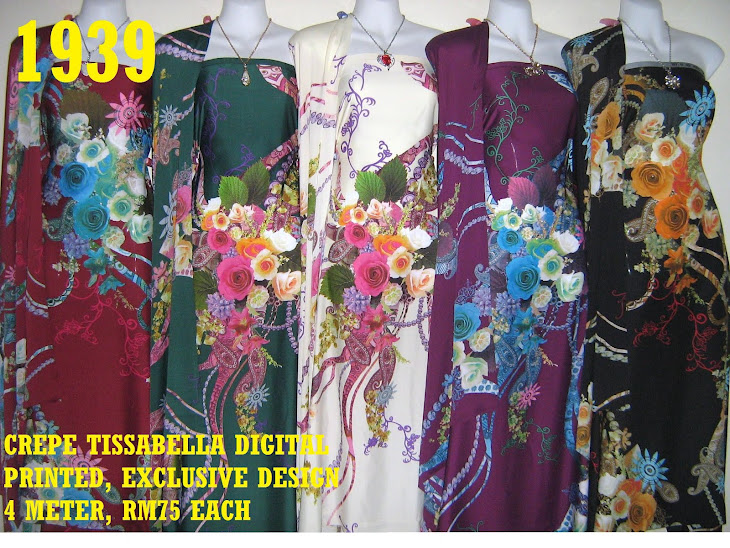 CTD 1939: CREPE TISSABELLA DIGITAL PRINTED, EXCLUSIVE DESIGN, 4 METER, 5 COLORS