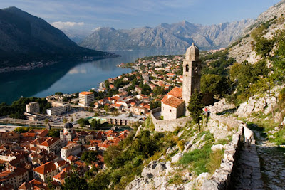Montenegro - Old church on rocky mountain above town of Kotor