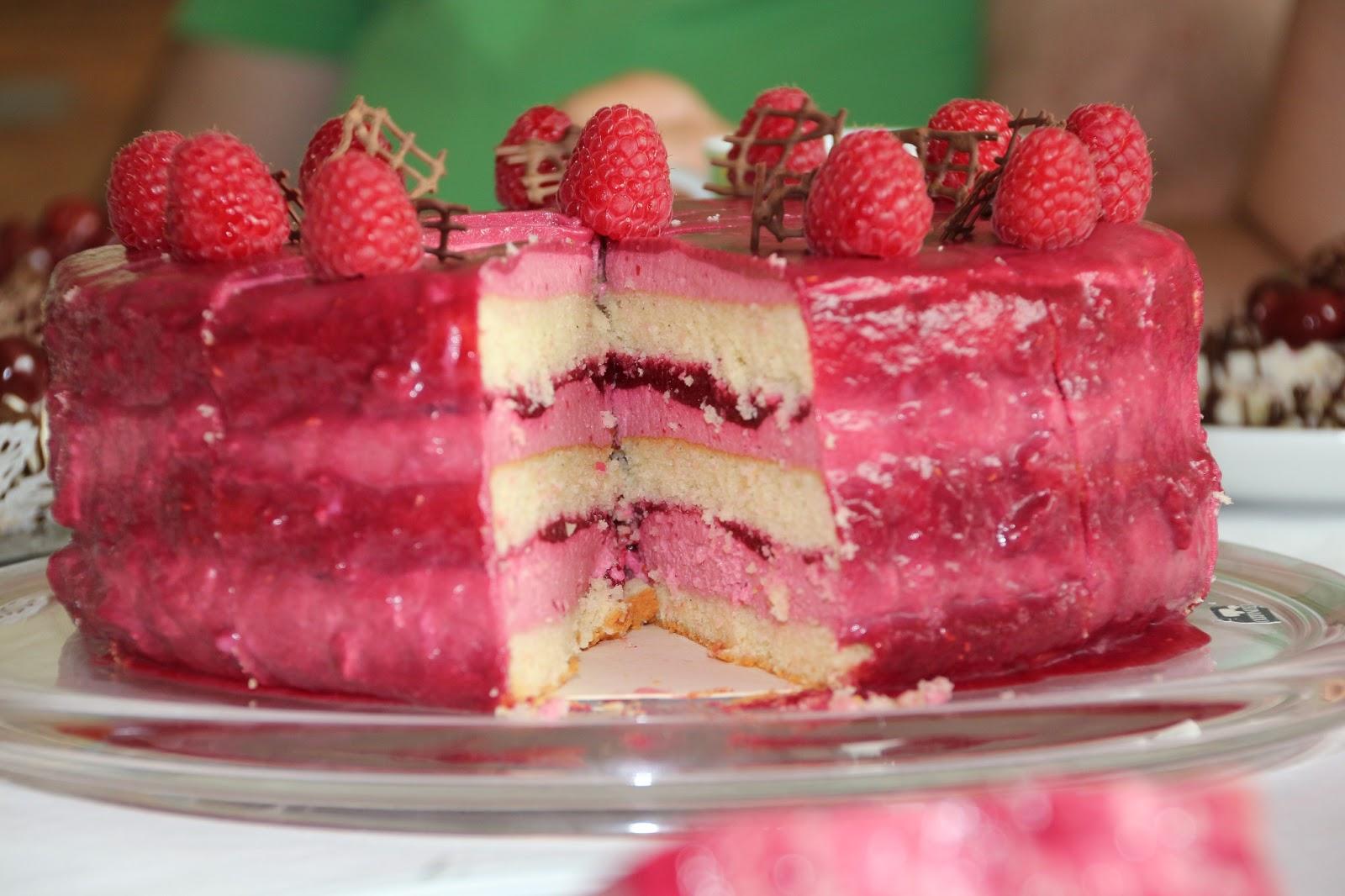 Torte, Himbeer-Torte, Himbeer-Gloss-Torte