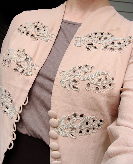peach pink loose jacket with cut out embroidery