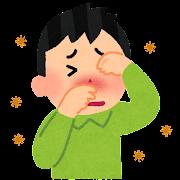 眼と鼻をこすっている人のイラスト(花粉症)