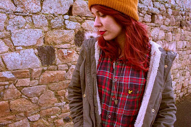 asos, BEANIE, boots, chelsea, fashion, grunge, necklace, ootd, Outfits, parka, pimkie, punk, red hair, style, vintage, zara, lookbook.nu, tartan, tumblr,
