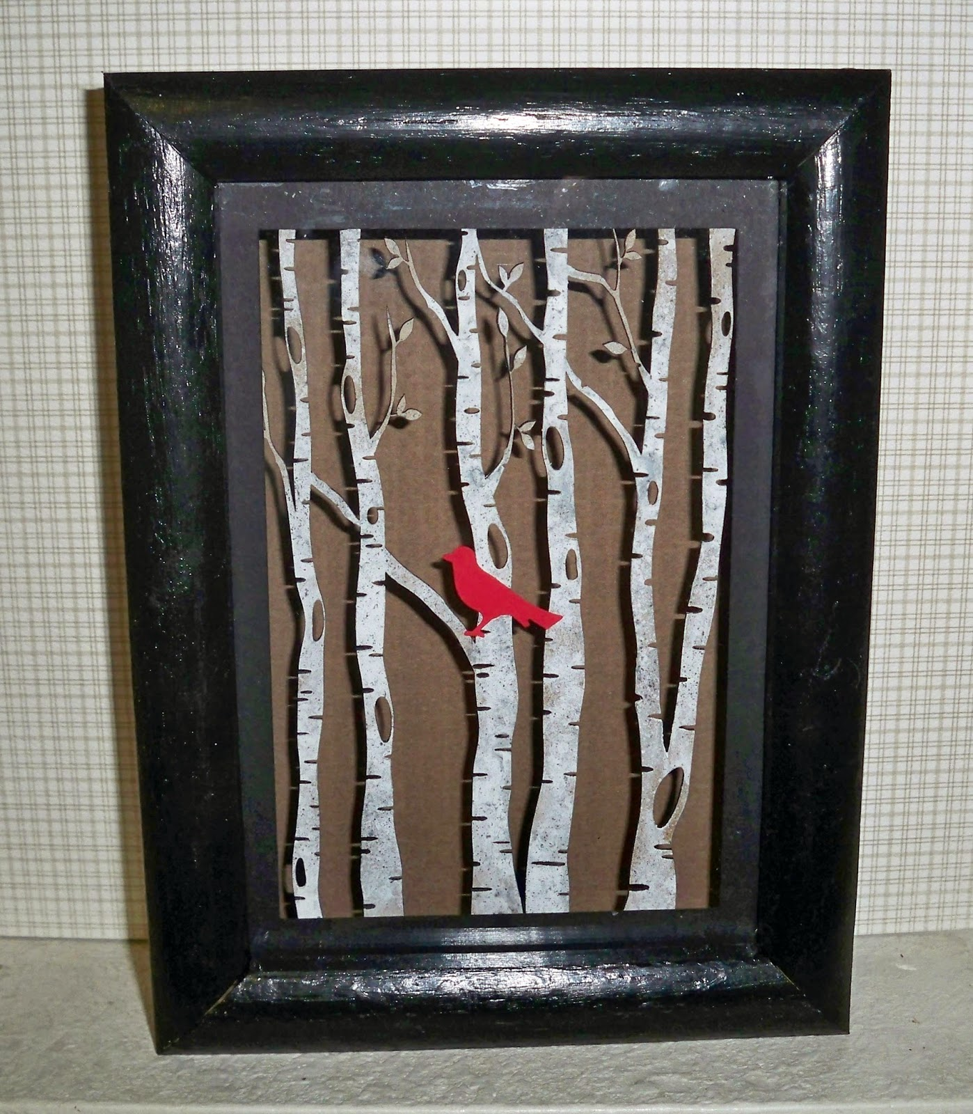 Art Without Anxiety Bird In A Birch Tree Shadow Box