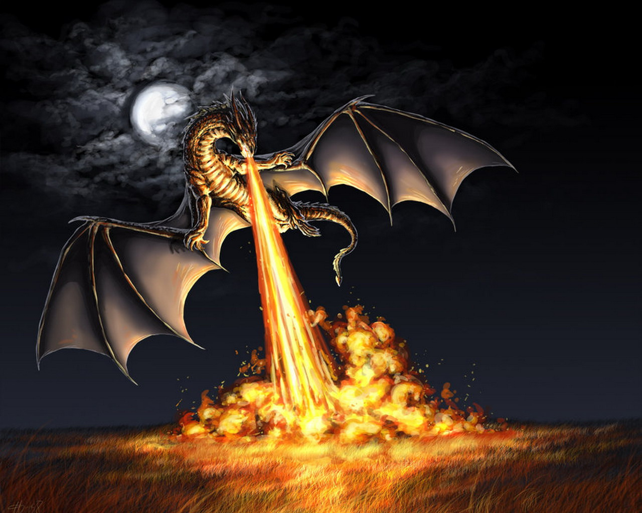 Cool Dragons Breathing Fire