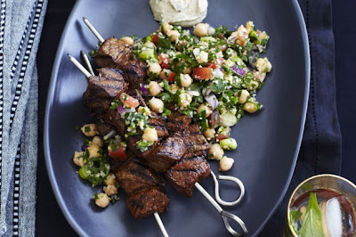 Baharat Beef Kebabs With Chickpea Tabouli Recipe