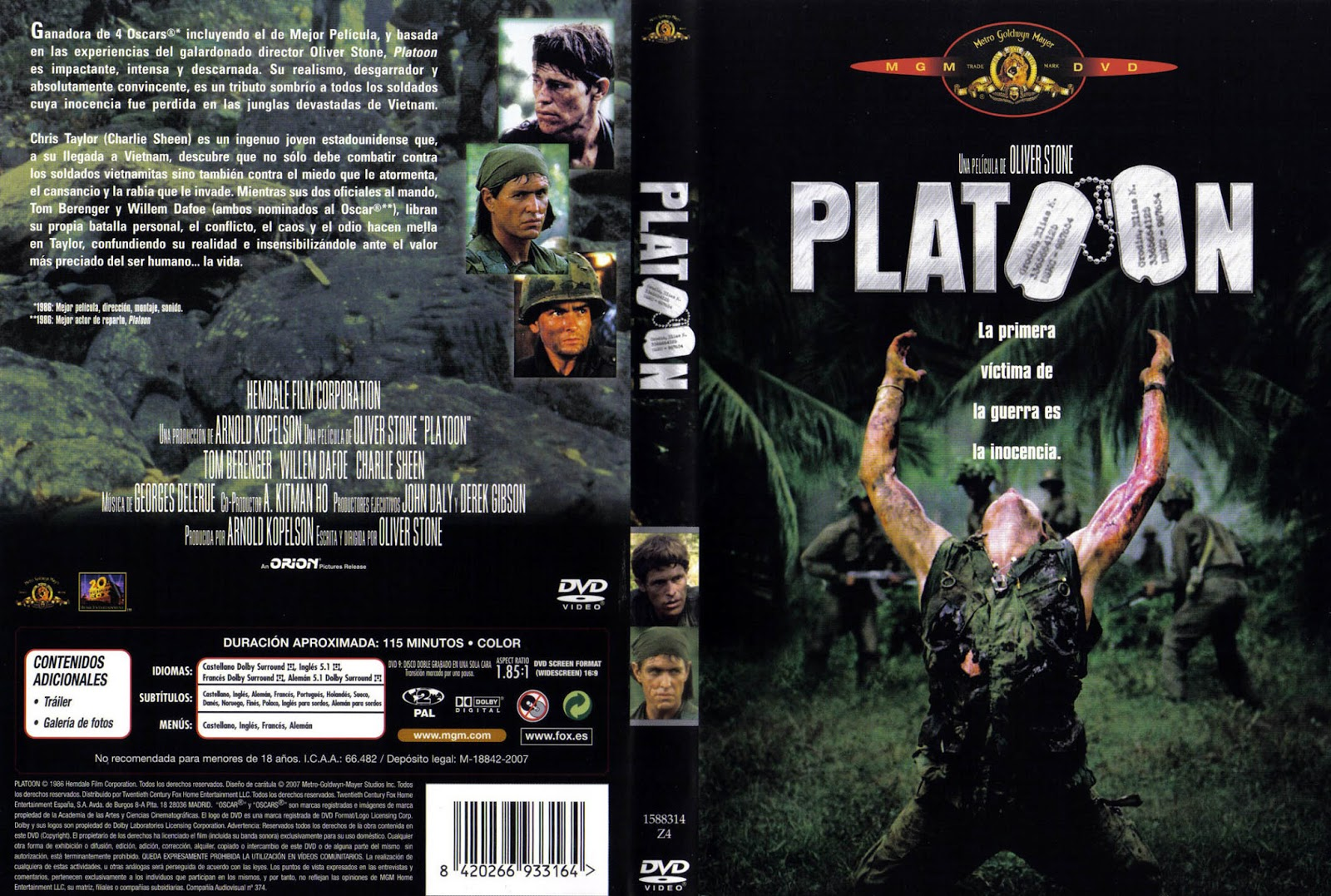 Platoon (Version Extendida) DVD