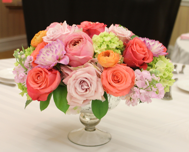 coral peach blush centerpieces in mecury glass compote urn with garden roses and curly willow branches elevated large centerpiece low mounded centerpiece jumbo hydrangea orange ranunculus baronette renaissance hotel novi michigan sweet pea floral design ann arbor detroit wedding flowers